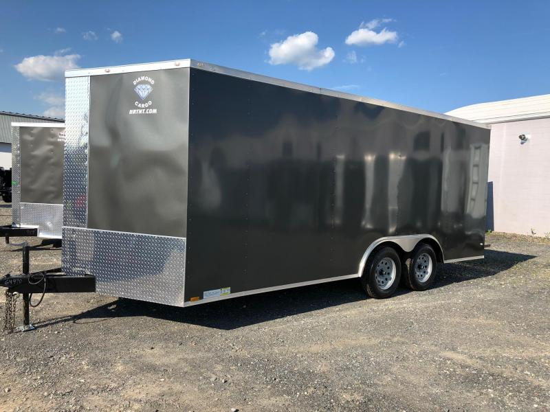 DIAMOND CARGO 2019 8.5' x 18' CHARCOAL GRAY SEMI-SCREWLESS TANDEM AXLE V-NOSE CARGO TRAILER