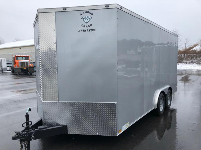 "DIAMOND CARGO 2018 8' x 16' SILVER TANDEM AXLE V-NOSE CARGO TRAILER w/ 6"" EXTRA HEIGHT"