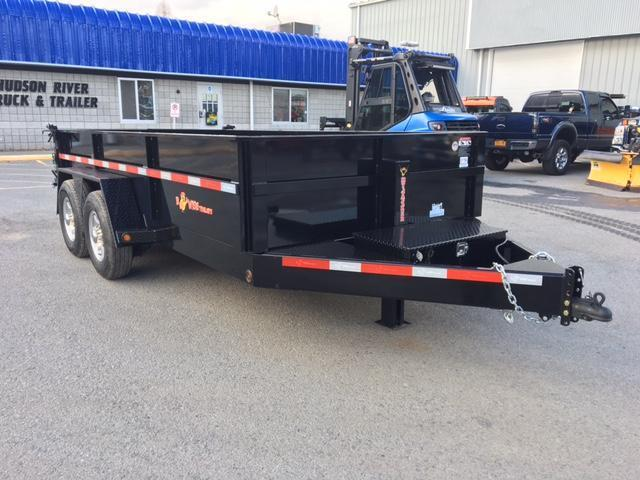BWISE 2018 DLP14-15 7' X 14' LOW PROFILE HEAVY DUTY DUMP TRAILER (BLACK)