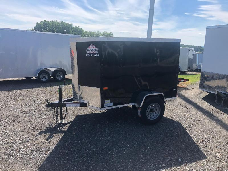 ROCK SOLID 2019 4' x 6' SINGLE AXLE BLACK ENCLOSED TRAILER