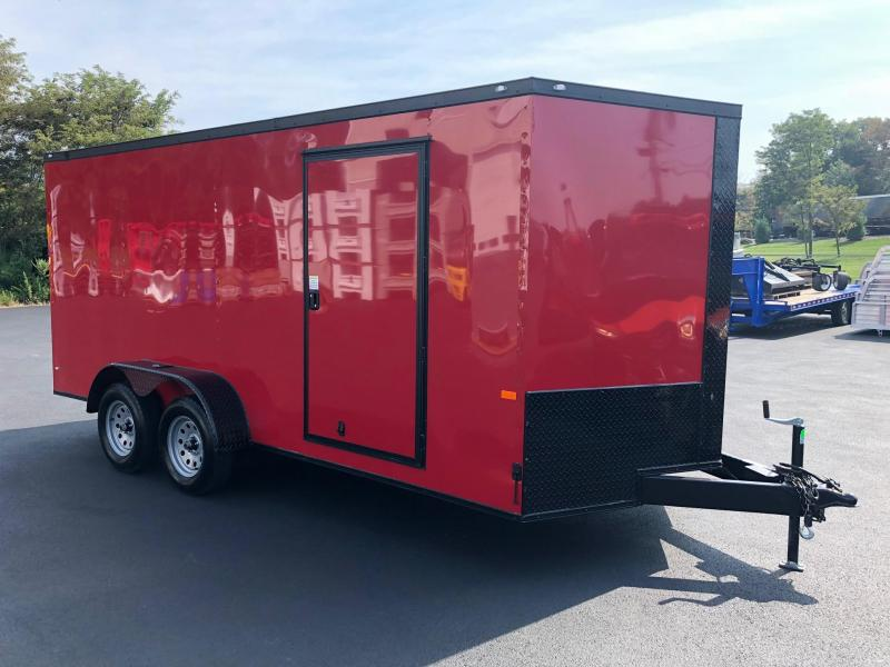 ROCK SOLID 2019 7' x 16' RED WITH BLACK ROCK SOLID PACKAGE TANDEM AXLE SEMI-SCREWLESS V-NOSE ENCLOSED TRAILER