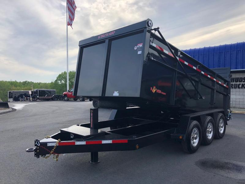BWISE 2018  7' x 16' BLACK ULTIMATE DUMP LOW PROFILE TRAILER TRI-AXLE 21000 GVWR