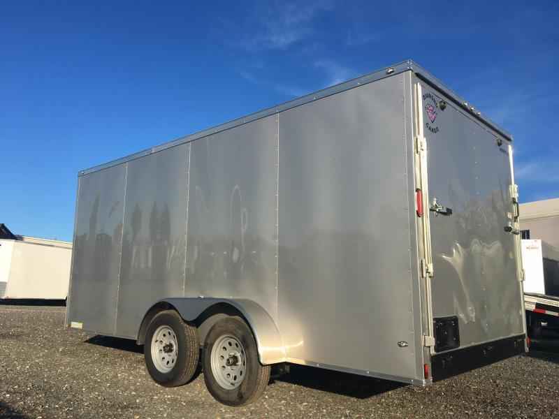 DIAMOND CARGO 2019 7' x 16' SILVER TANDEM AXLE SEMI-SCREWLESS V-NOSE CARGO TRAILER