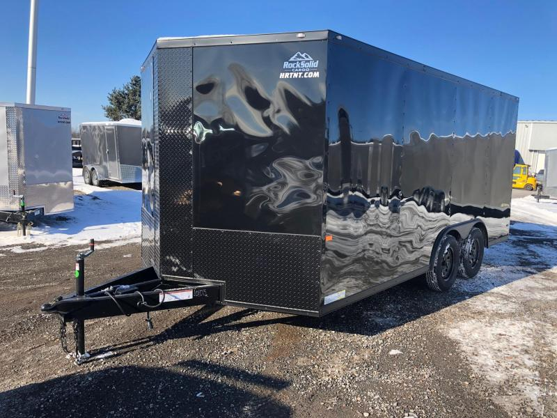 "ROCK SOLID 2019 8.5' x 16' CH TANDEM AXLE BLACK W/BLACKOUT  SEMI-SCREWLESS V-NOSE CARGO CAR HAULER TRAILER WITH 60"" TRIPLE TUBE TONGUE EXTENDED"