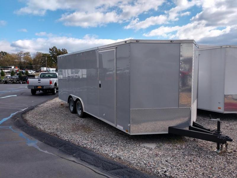 "DIAMOND CARGO 2019 8.5' x 20' SILVER SEMI-SCREWLESS V-NOSE TRAILER WITH 60"" TRIPLE TUBE TONGUE EXTENDED"