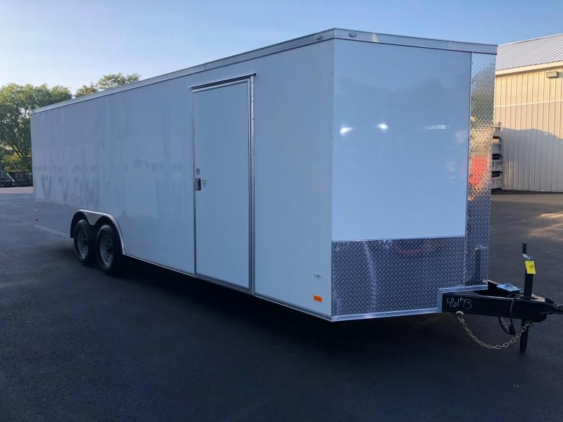 COVERED WAGON 2019 WHITE 8.5' x 24' SEMI-SCREWLESS ENCLOSED CARGO TRAILER W/ESCAPE DOOR