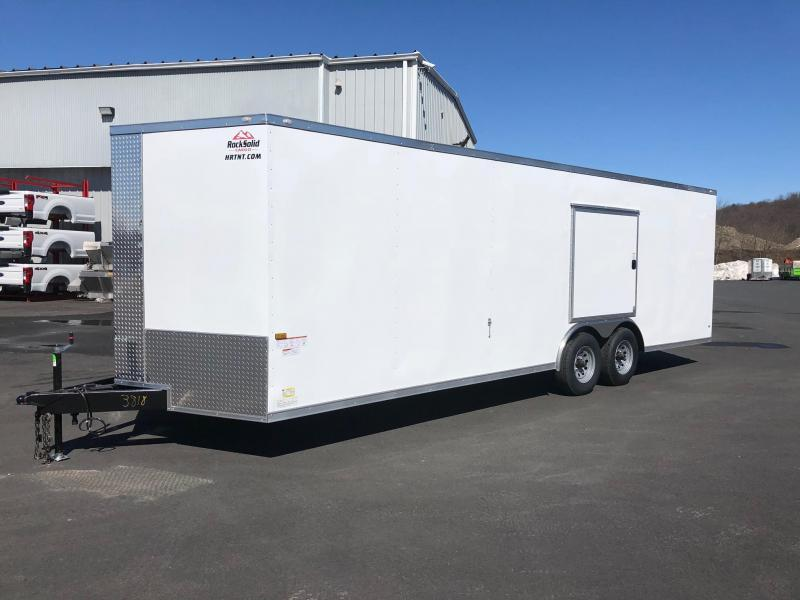 ROCK SOLID 2019 8.5' x 24' TANDEM AXLE WHITE V-NOSE SEMI SCREWLESS W/ TRIPLE TUBE TONGUE AND 54 X 48 ESCAPE DOOR ENCLOSED CARGO TRAILER / CAR HAULER