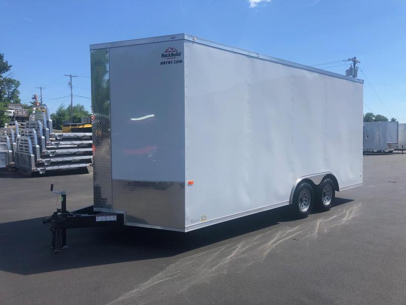 ROCK SOLID 2020 8.5' x 18' CH TANDEM AXLE WHITE  WITH ADDITIONAL HEIGHT V-NOSE CARGO TRAILER