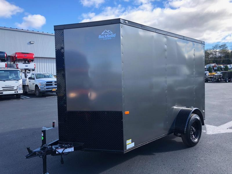 ROCK SOLID 2019 6' x 12' SINGLE AXLE CHARCOAL GREY SEMI-SCREWLESS WITH BLKOUT PACKAGE V-NOSE ENCLOSED TRAILER