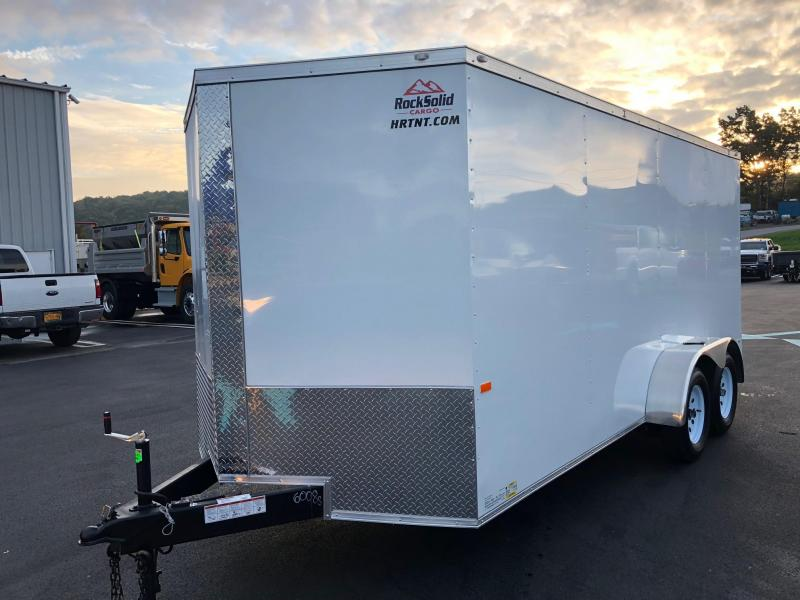 ROCK SOLID 2019 7' x 16' WHITE TANDEM AXLE SEMI-SCREWLESS V-NOSE ENCLOSED TRAILER