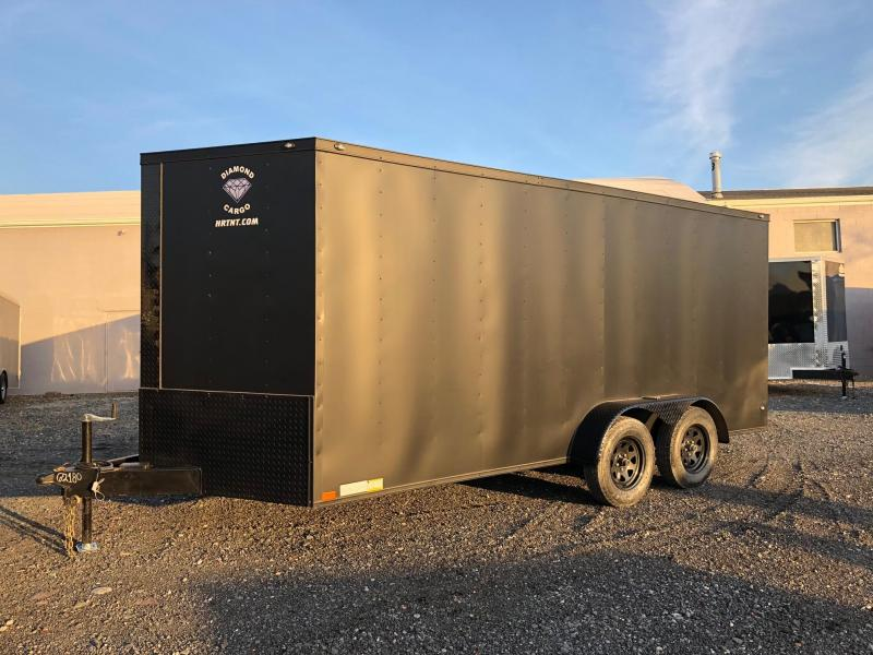 DIAMOND CARGO 2018 7' x 16' MATTE BLACK WITH BLACK DIAMOND PACKAGE TANDEM AXLE V-NOSE CARGO TRAILER