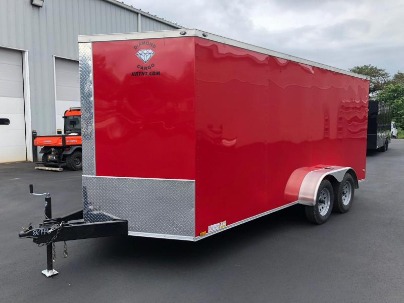 DIAMOND CARGO 2019 7' x 16' RED SEMI-SCREWLESS TANDEM AXLE V-NOSE CARGO TRAILER