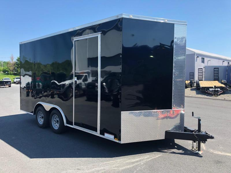 DIAMOND CARGO 2018 8.5' x 16'  WITH ADD'L HEIGHT BLACK SEMI-SCREWLESS TANDEM AXLE V-NOSE CARGO TRAILER