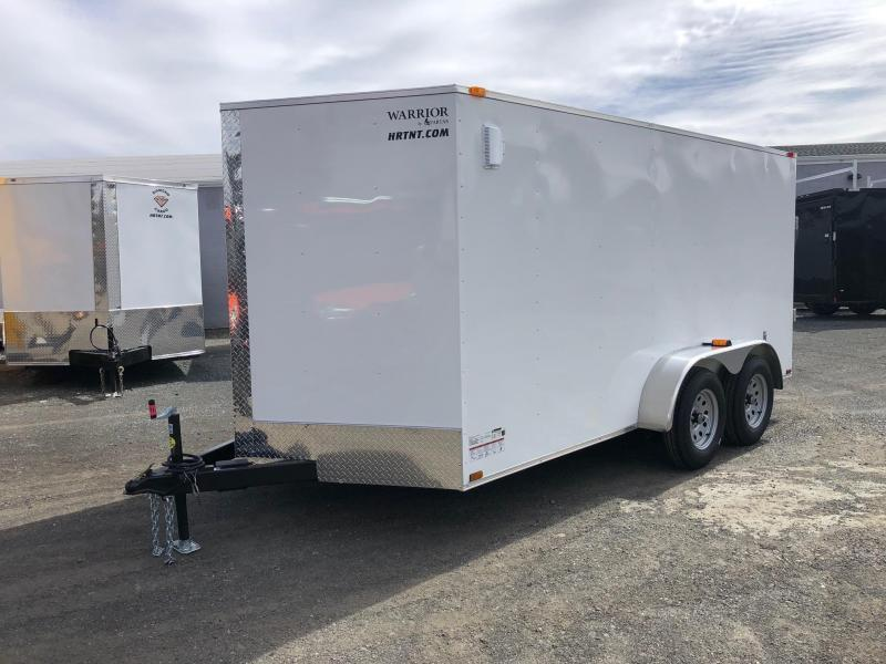 SPARTAN CARGO 2020 7X14 TANDEM AXLE WHITE SEMI SCREWLESS ENCLOSED TRAILER