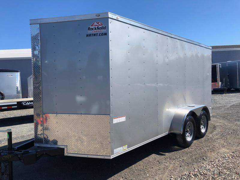 ROCK SOLID 2018 7' x 14 SILVER TANDEM AXLE V-NOSE ENCLOSED TRAILER