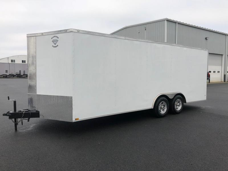 DIAMOND CARGO 2018 8.5' x 20' TANDEM AXLE WHITE ENCLOSED CARGO TRAILER