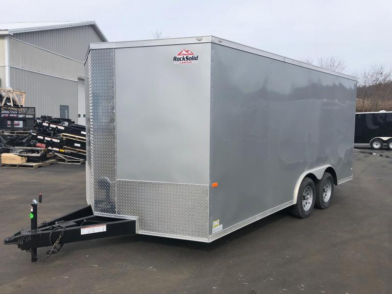 "ROCK SOLID 2019 8.5' x 16' CH TANDEM AXLE SILVER SEMI-SCREWLESS V-NOSE CARGO CAR HAULER TRAILER WITH 60"" TRIPLE TUBE TONGUE EXTENDED"
