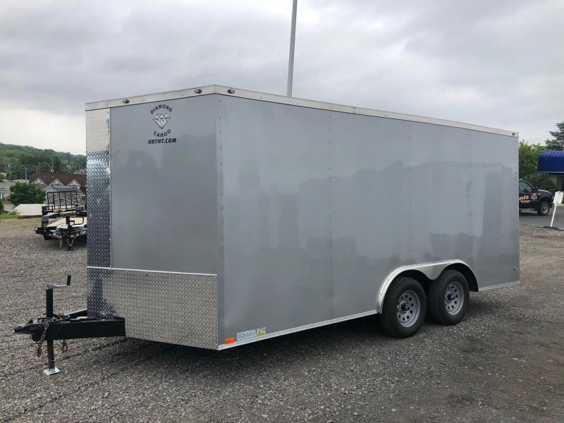 DIAMOND CARGO 2018 8.5' x 16' V-NOSE SILVER SEMI-SCREWLESS TANDEM AXLE CARGO TRAILER