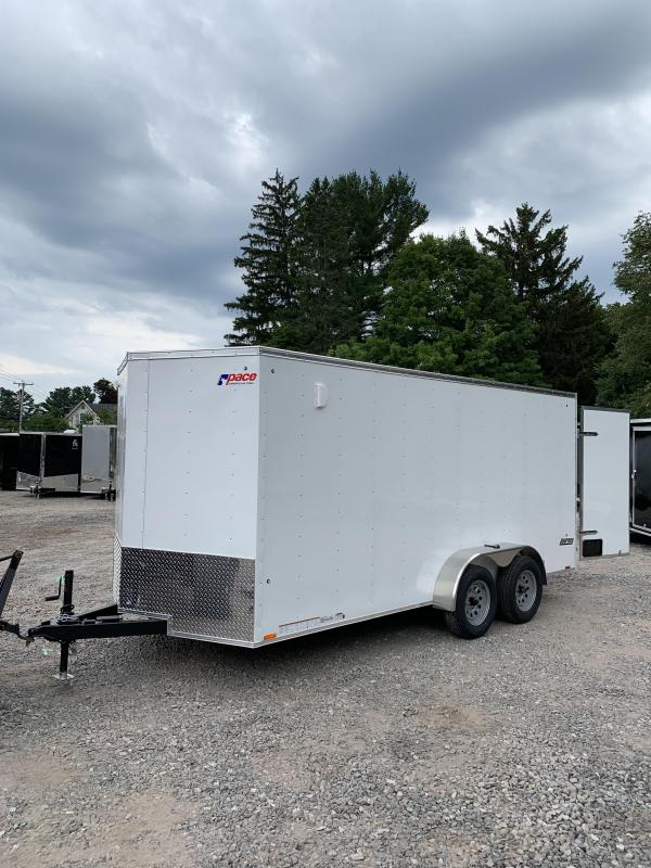 2019 PACE 7X16 +2ft V trailer double doors/extra height