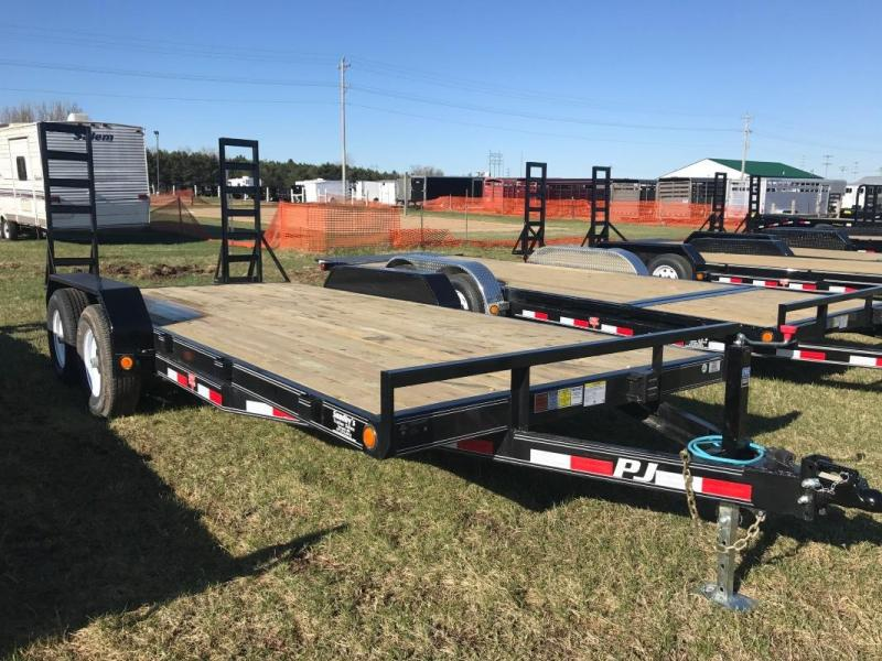 "2017 PJ 18'X5"" 5.2K AXLES 2' DOVETAIL W/ 2 FOLD UP RAMPS"