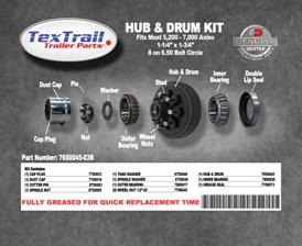 7650045-03B Fully Greased Hub/Drum Kit