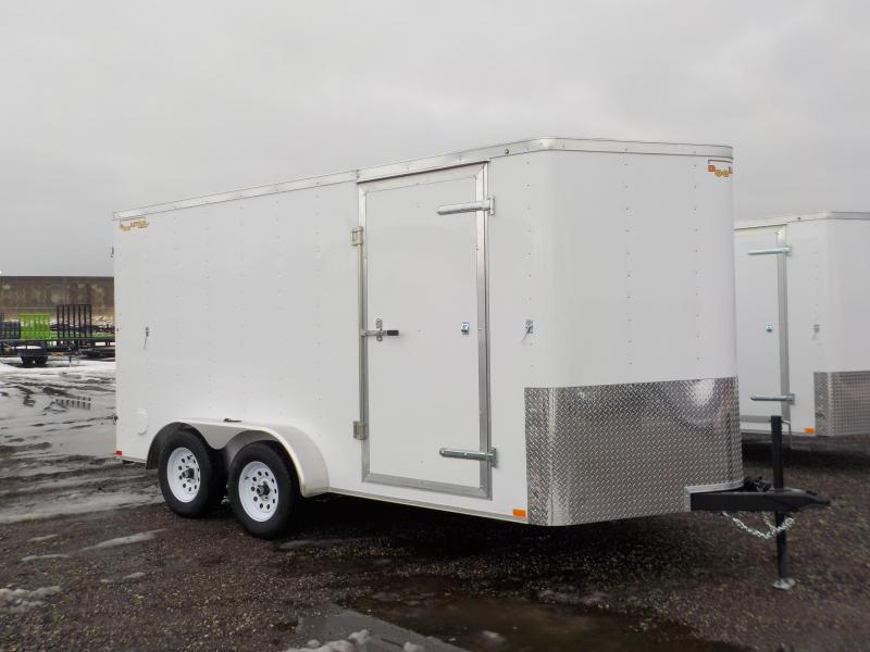 2019 Doolittle Trailer Mfg 7x14 White T/A Barn Door Enclosed Cargo Trailer