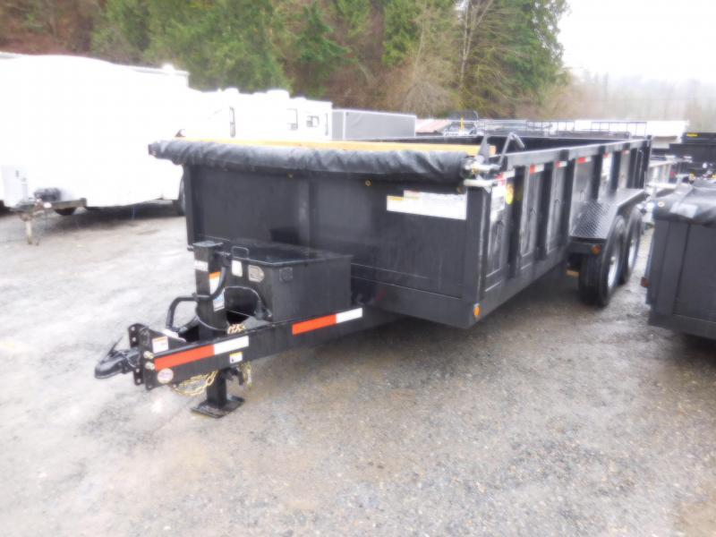 2018 ABU 7x16 14K Industrial Dump Trailer w/ Rear Spreader & Double Doors