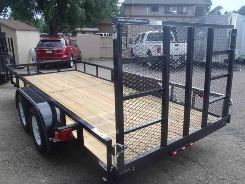 77X14 Pipe top Rail LED Lights with Ramp Gate Utility Trailer