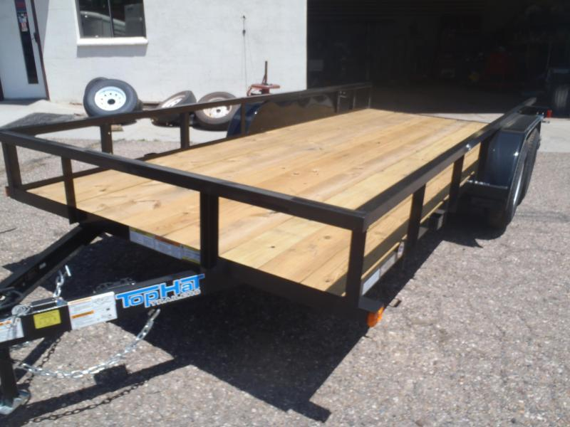 83X16 Pipe Rail Utility Trailer NO RAMPS
