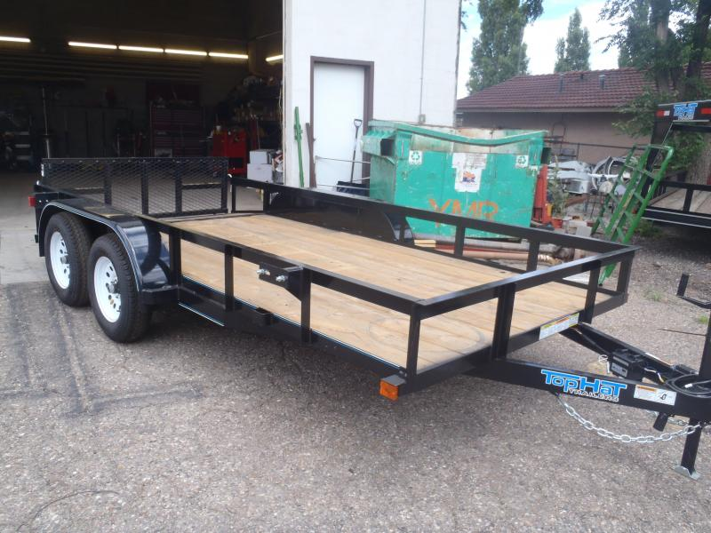 77X14 Tandem Axle Angle Rail with Ramp Gate Utility Trailer