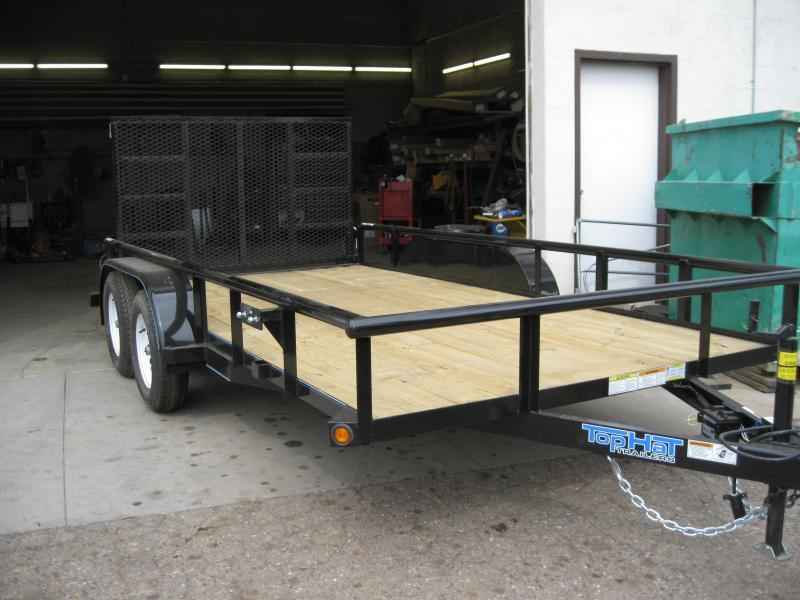 83X14 Tandem Axle Angle Rail with Ramp Gate Utility Trailer