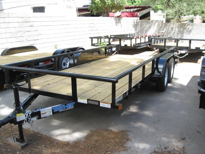 83X16 Utility Trailer  Pipe Rail NO RAMPS