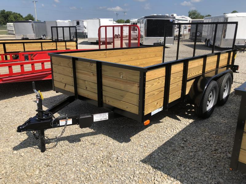 American Manufacturing 6x12 Utility Trailer w/ High Wood Sides & Gate