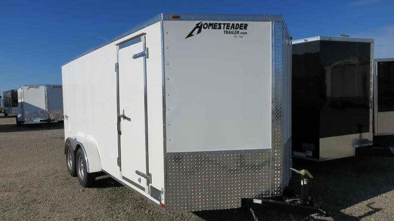 Homesteader 7x16 Enclosed Trailer w/ Ramp Door - Side Wall Vents - D Rings - Side Door
