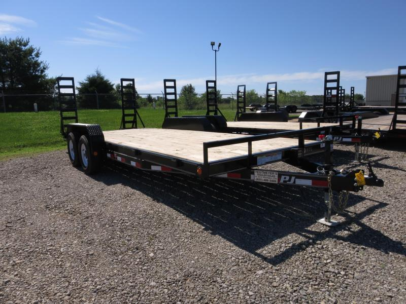 PJ Trailers 20' Flatbed with stand up ramps