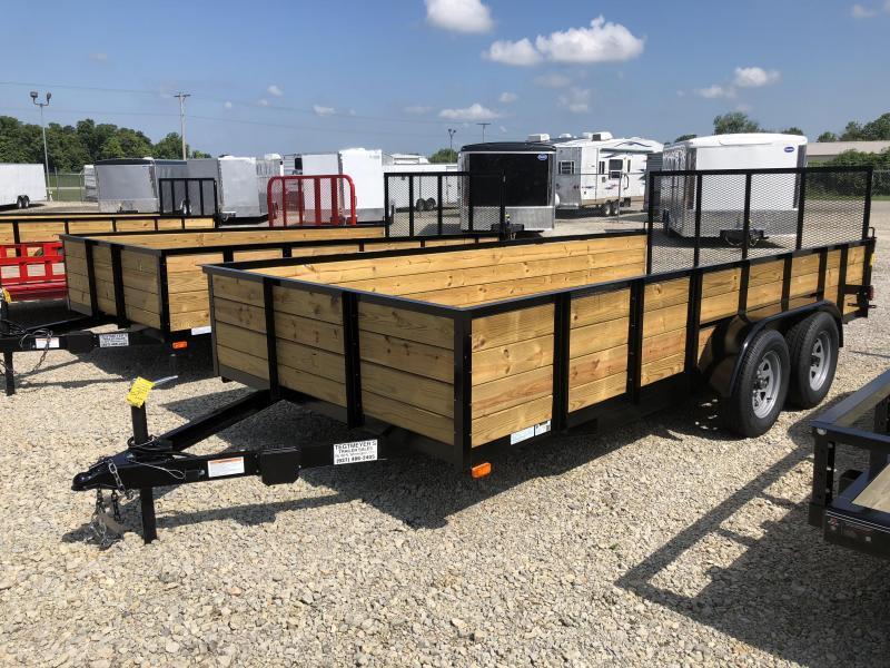 American Manufacturing 7x18 Utility Trailer w/ High Wood Sides & Gate