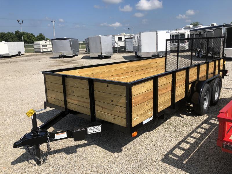 American Manufacturing 6x16 Utility Trailer w/ High Wood Sides & Gate