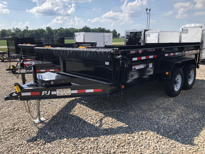 "PJ Trailers 14' x 83"" Low Pro Dump Trailer - Tarp"