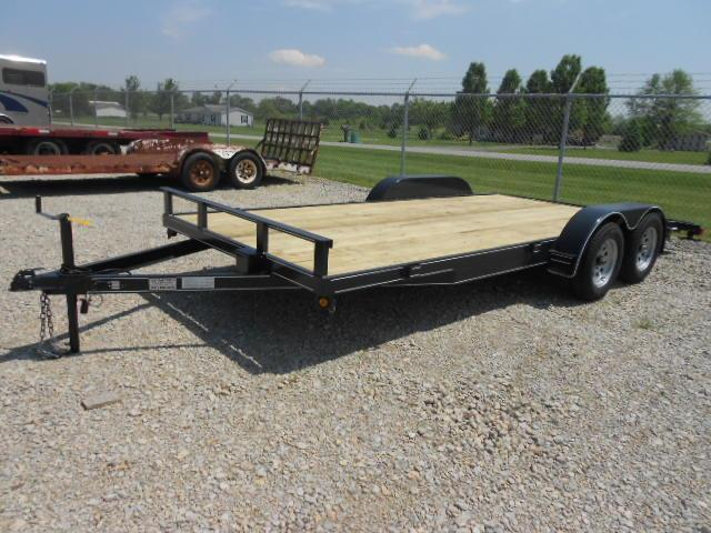P&T Trailers 18' Car Trailers Wood Floor  w/ ramps - LED - Brake