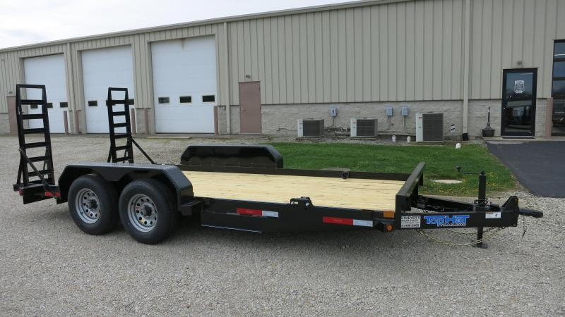 Top Hat Trailers 16' Flatbed with stand up ramps -skid steer