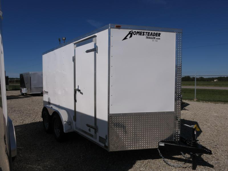 Homesteader 6x12 Enclosed Trailer w/ Ramp Door - Side Wall Vents - D Rings - Side Door