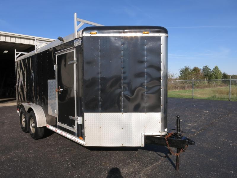 Used 7x16 Enclosed Trailer - Built in shelving - ladder racks