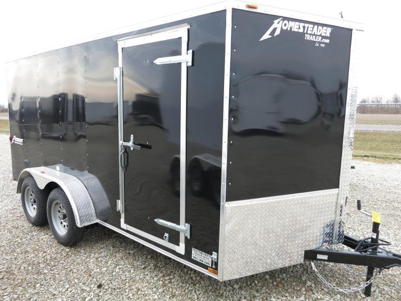 Homesteader 7x14 Enclosed Trailer w/ Ramp Door - Side Wall Vents - D Rings - Side Door