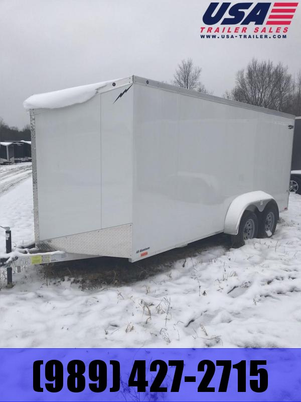 2019 Lightning Trailers 7x16 White Ramp Enclosed Cargo Trailer