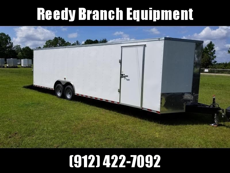 2019 ROCK SOLID CARGO(8.5X28)(14000GVWR) (WHITE) (CARHAULER) 8.5x28 TA-7000LB Enclosed Cargo Trailer