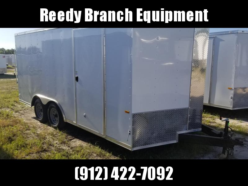 2018 ROCK SOLID CARGO(WHITE)(FACTORY PICKUP DIRECT) 8.5x16 CH-3500lb Enclosed Cargo Trailer
