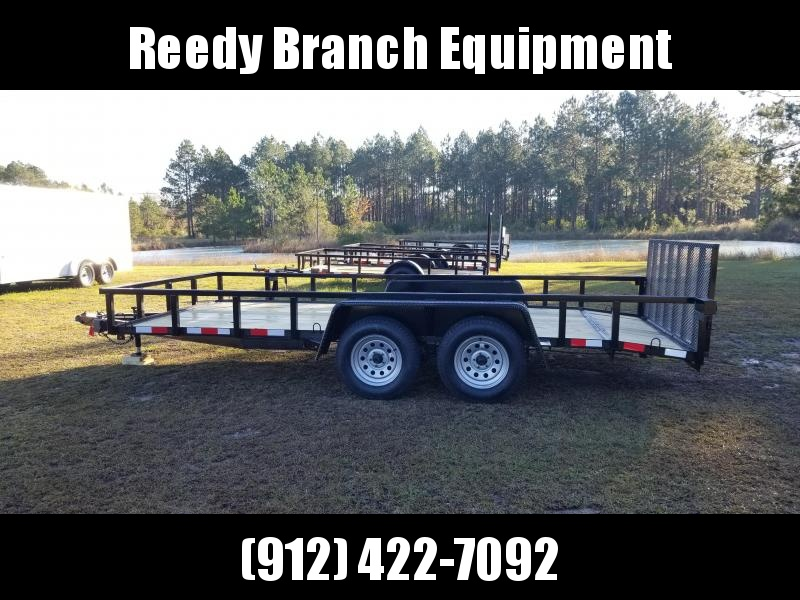 """2019 (16 FT) (7000GVWR)(BLACK)(UPGRADED HEAVY GAUGE 2""""INCH TUBING SIDES)(DOVETAIL) Down 2 Earth Trailers DTE8216UT3.5B Utility Trailer"""