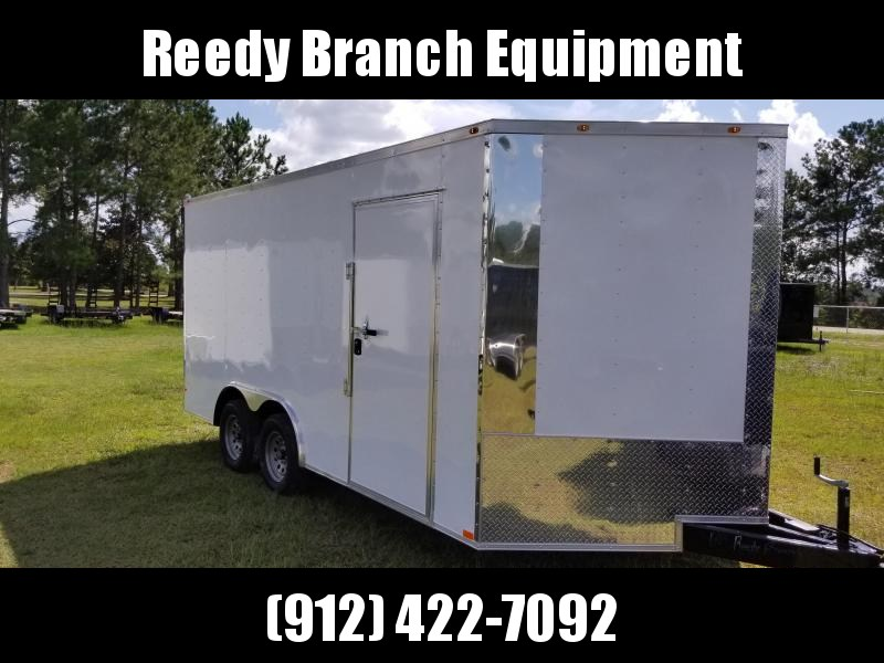 2018 EMPIRE Cargo(YEAR END CLEARANCE SALE) (WHITE)(7 FT HEIGHT)(EXTENDED TONGUE) 8.5x16 TA-3500lb Enclosed Cargo Trailer
