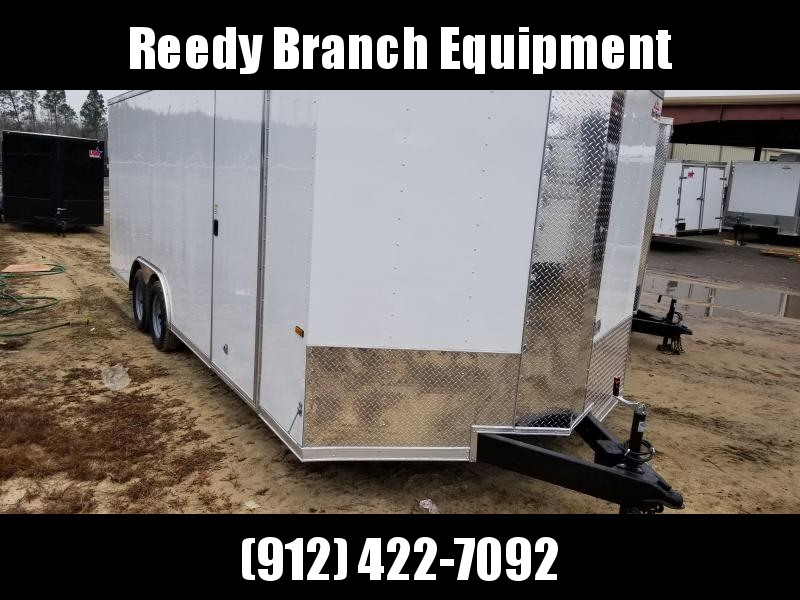 2018 ROCK SOLID CARGO(WHITE)(FACTORY PICKUP DIRECT) 8.5x20 CH-3500lb Enclosed Cargo Trailer
