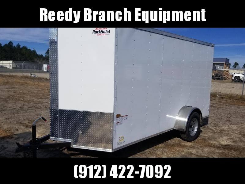 2019 ROCK SOLID CARGO(WHITE/BLACK)FACTORY DIRECT PICKUP 7X12SA-3500LB Enclosed Cargo Trailer